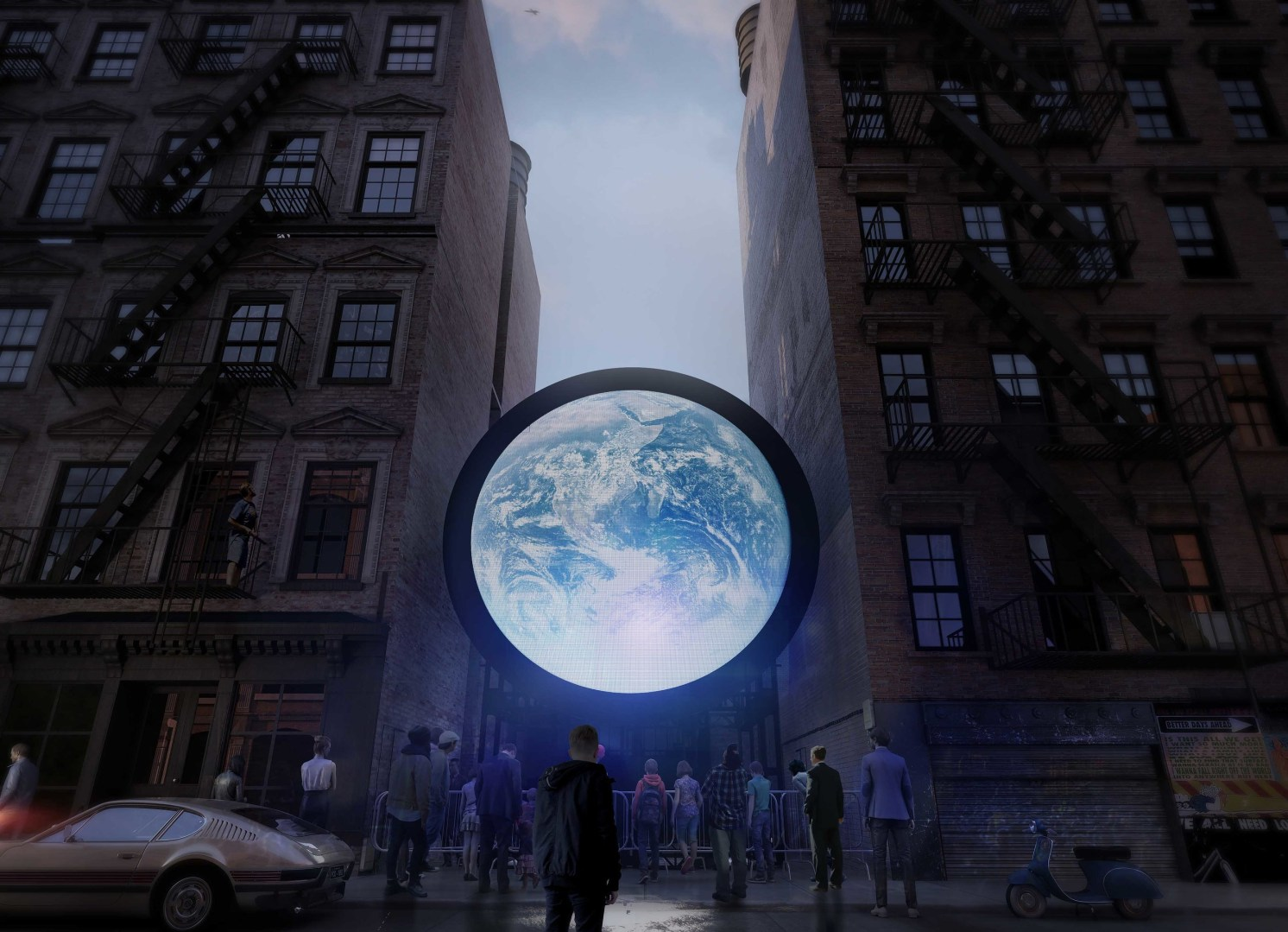 huge Earth marble between two tall buildings, with people looking up at it