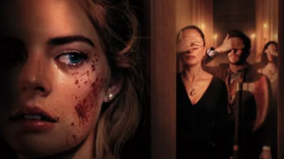 Woman with blood on face, hiding behind door, with rich people on the other side, covering hteir eyes.