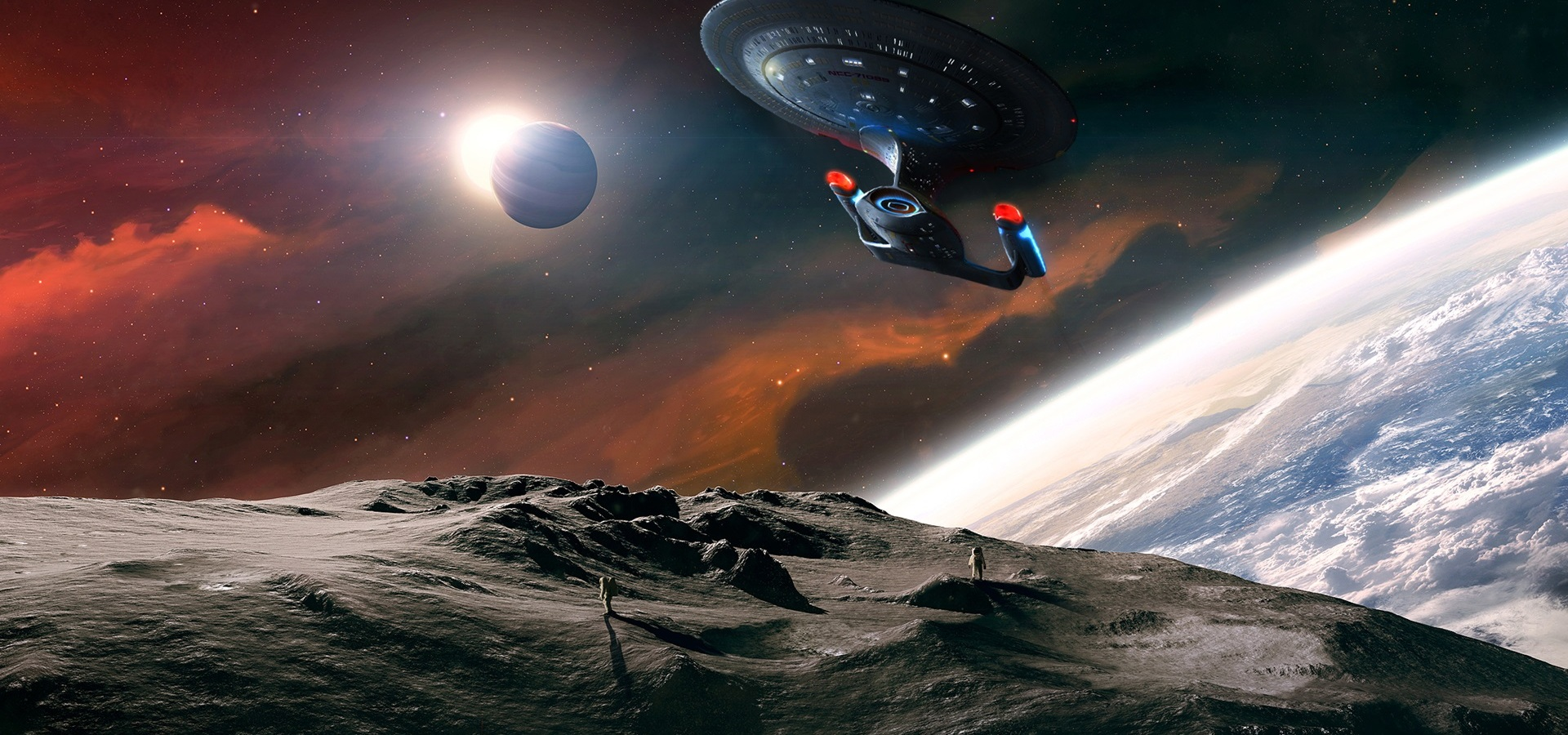 Art depiction of the Starship Enterprise against a background of planets.
